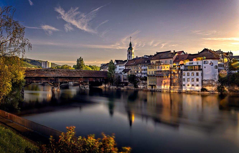 Photo wallpaper bridge, river, building, home, Switzerland, Switzerland, Aare River, Olten, Olten, The River Aare
