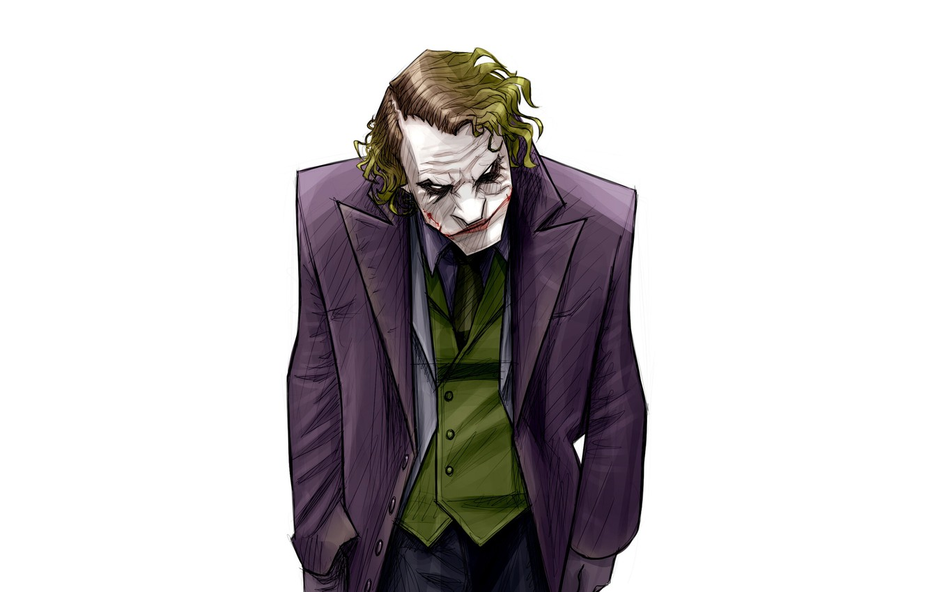 Photo wallpaper Minimalism, Figure, Joker, Background, Art, Art, Joker, Heath Ledger, Heath Ledger, Minimalism, Characters, Dark Knight, …