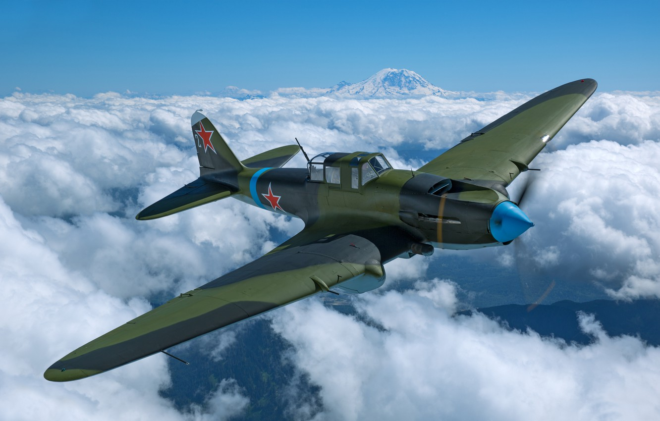 Photo wallpaper Clouds, The plane, The Second World War, Il-2, Attack, Il-2M3, THE RED ARMY AIR FORCE