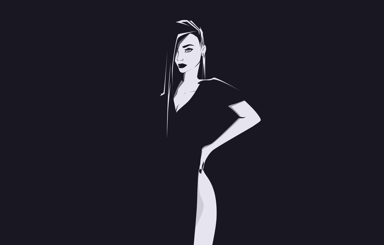 Photo wallpaper Girl, Minimalism, Figure, Girl, Background, Beautiful, Beautiful, Background, Minimalism, Black and White, Dress, Black and ...
