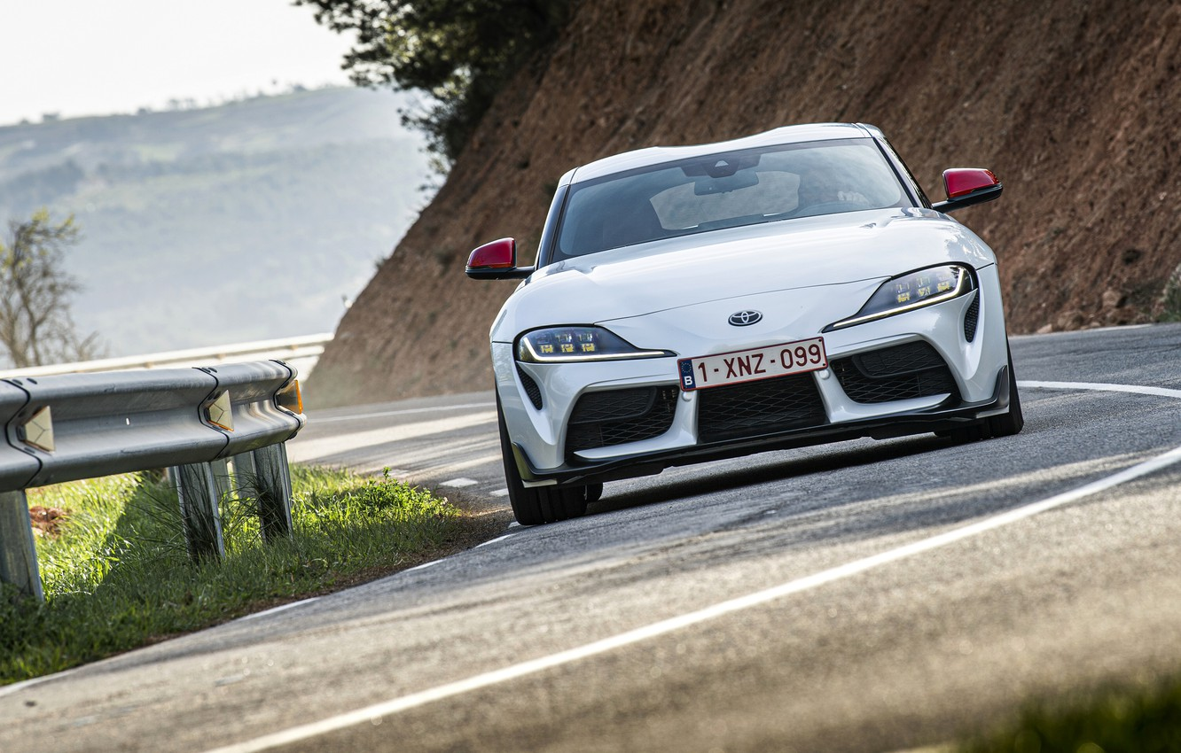 Photo wallpaper road, white, coupe, turn, the fence, Toyota, front, Supra, the fifth generation, mk5, double, 2020, …