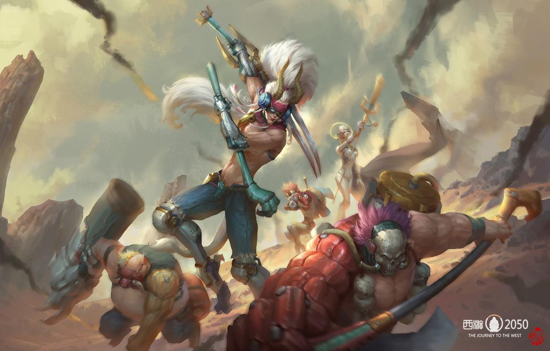 Photo wallpaper fantasy, art, battle, Battle, jinhao yang