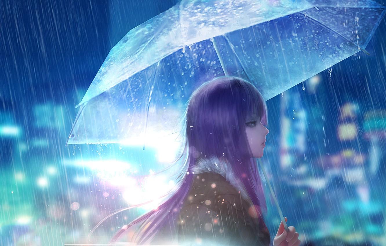 Photo wallpaper girl, the city, rain, street, umbrella