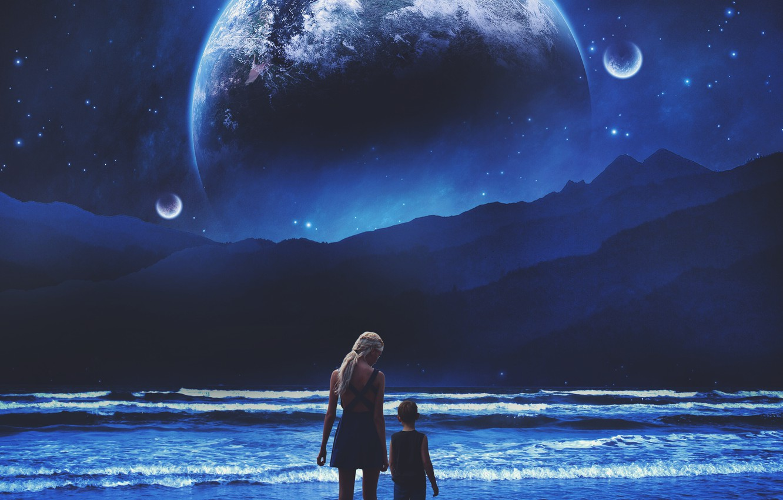 Wallpaper Sea Beach Girl Space Mountains Night Fiction