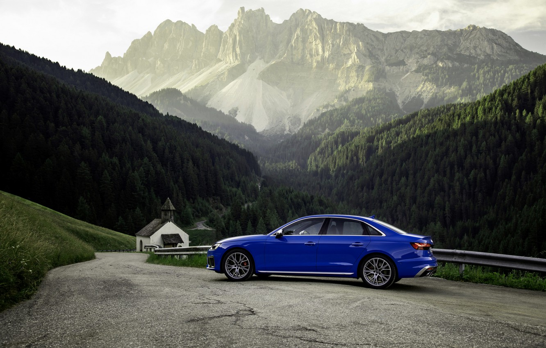 Photo wallpaper blue, Audi, sedan, mountain road, Audi A4, Audi S4, 2019