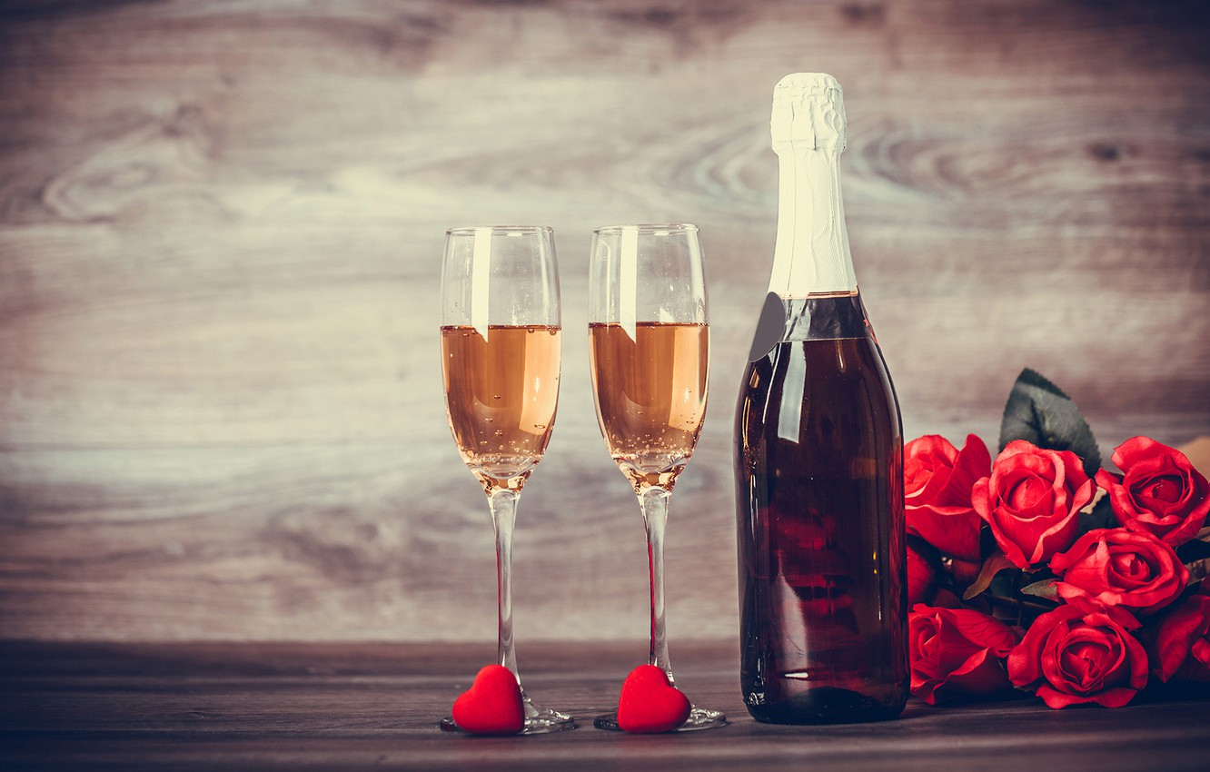 Photo wallpaper flowers, romance, roses, glasses, champagne, March 8