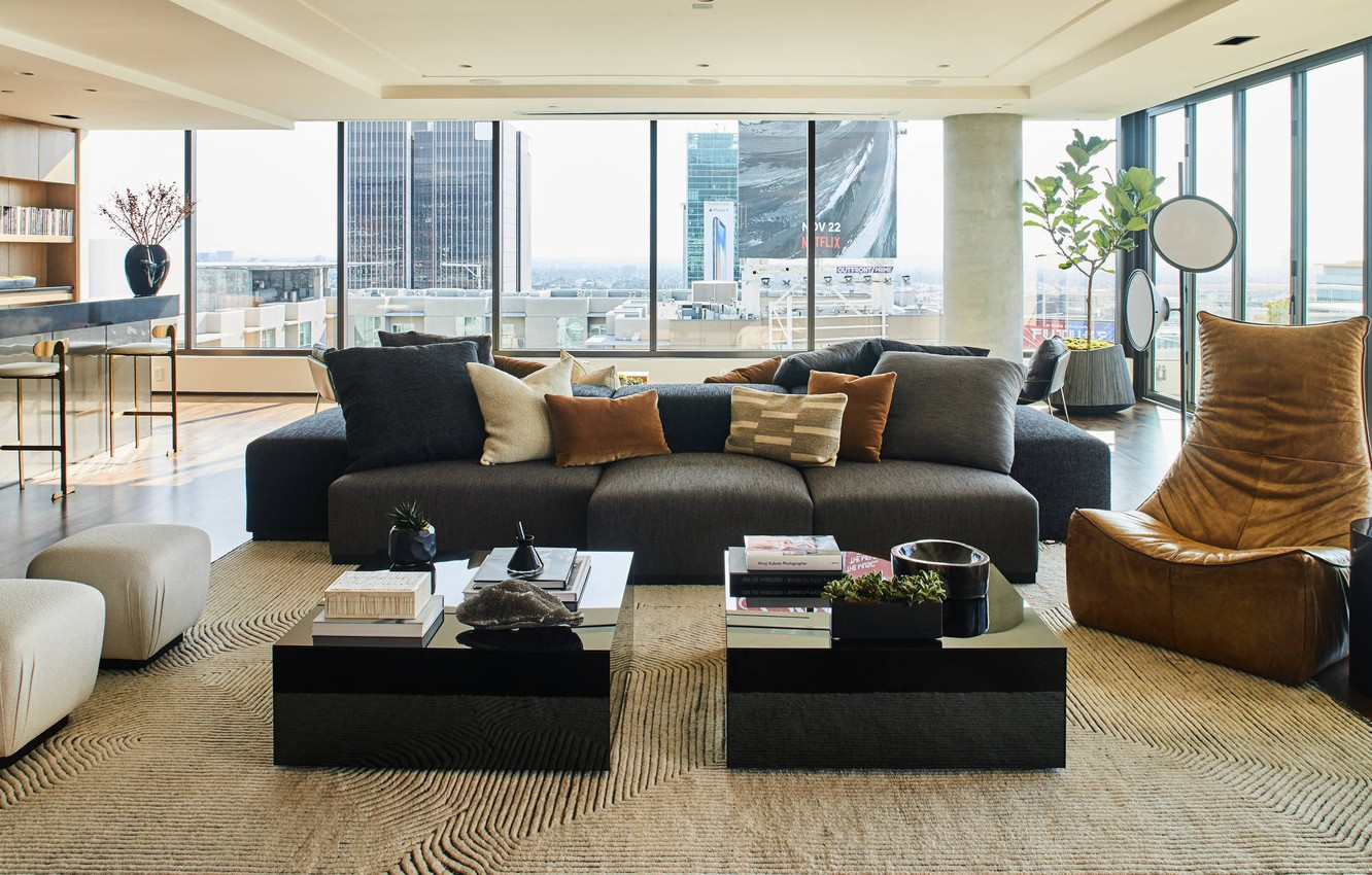 Photo wallpaper interior, megapolis, living room, Hollywood Penthouse, by Smith Firestone Associates