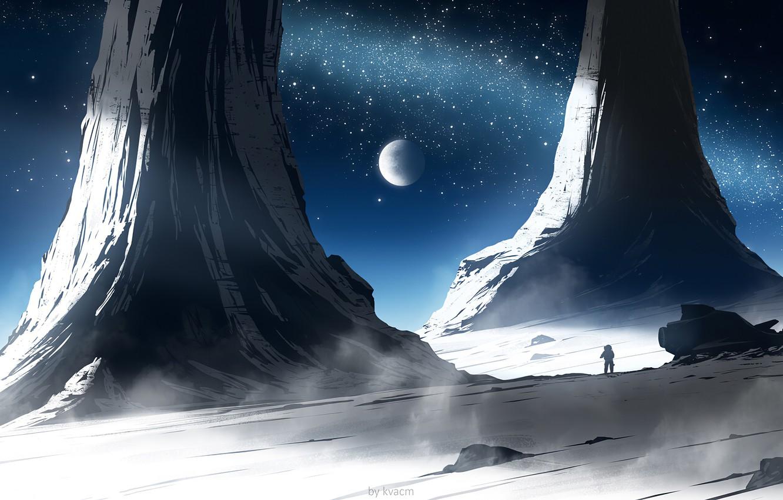 Photo wallpaper moon, fantasy, science fiction, stars, spaceship, sci-fi, planet, artist, galaxy, digital art, artwork, fantasy art, …