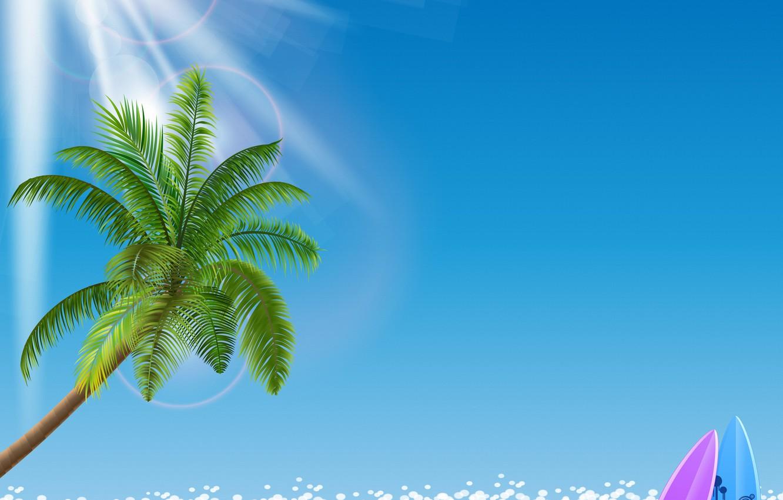 Photo wallpaper sea, beach, palm trees