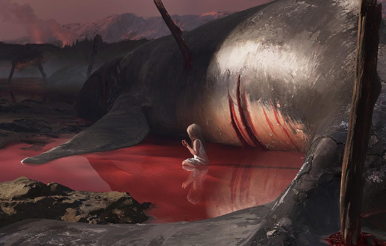 Photo wallpaper death, hopelessness, the victim, murder, kit, baby, art, a pool of blood, gigantskii, dark place, …