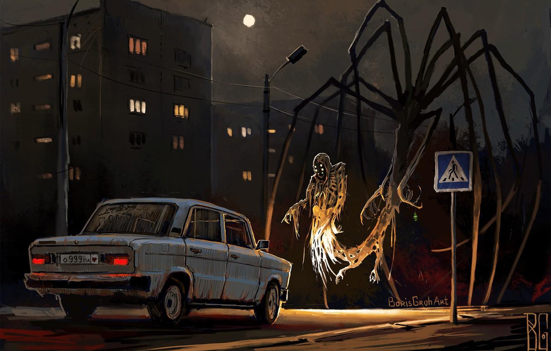 Photo wallpaper Night, Figure, The city, Machine, The demon, Art, Ghost, Lada, Hello, Lada, Boris Groh, by …