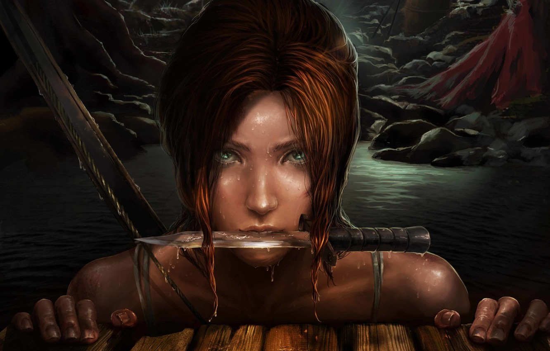 Photo wallpaper look, girl, face, knife, Tomb Raider, Lara Croft, Tomb Raider