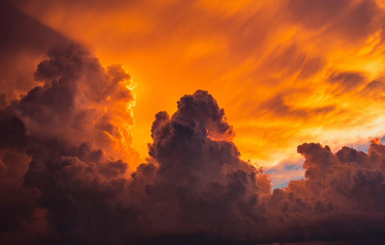 Photo wallpaper the sky, clouds, sunset, colorful