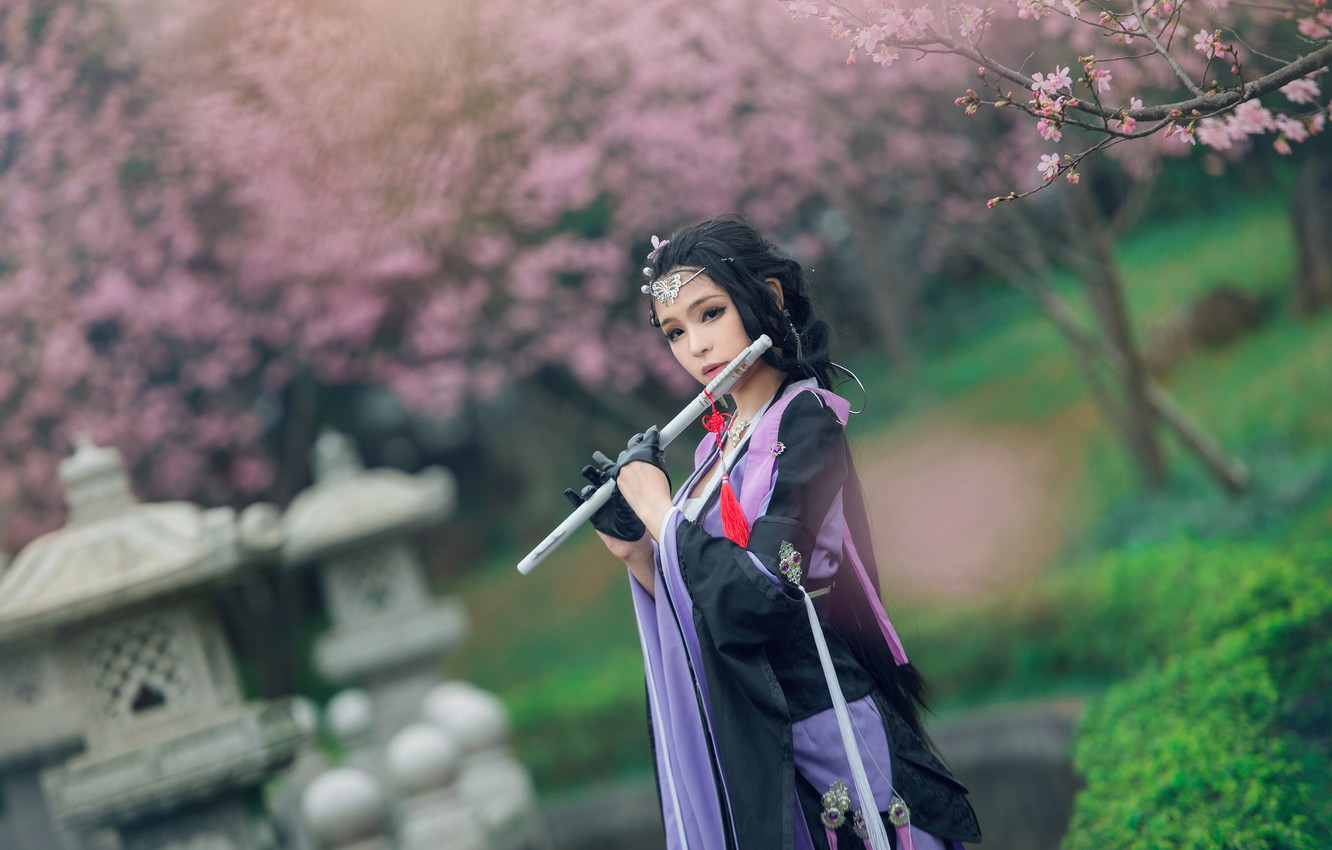 Photo wallpaper greens, purple, look, girl, decoration, trees, flowers, branches, face, cherry, pose, style, Park, background, lilac, …