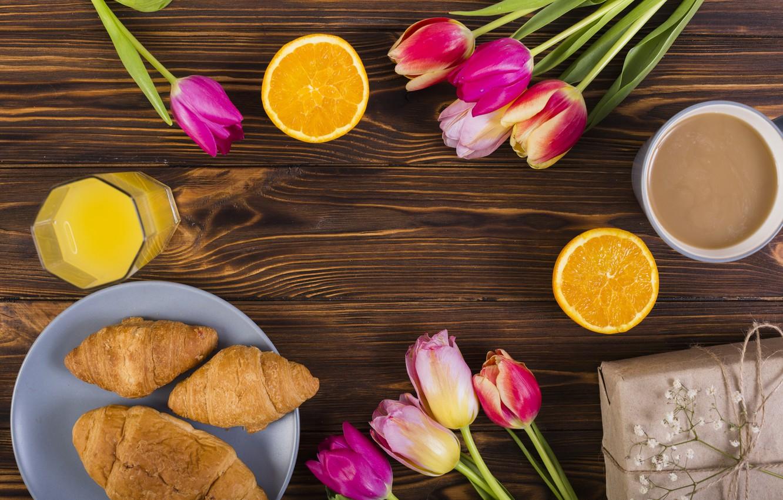 Photo wallpaper flowers, Breakfast, colorful, tulips, pink, wood, pink, flowers, tulips, coffee cup, spring, purple, growing, breakfast, …