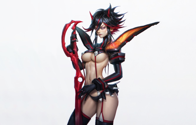 Photo wallpaper Girl, Fantasy, Art, Devil, Style, Background, Illustration, Weapon, Minimalism, Demon, Ryuu Did Matoi, Character, Zeronis