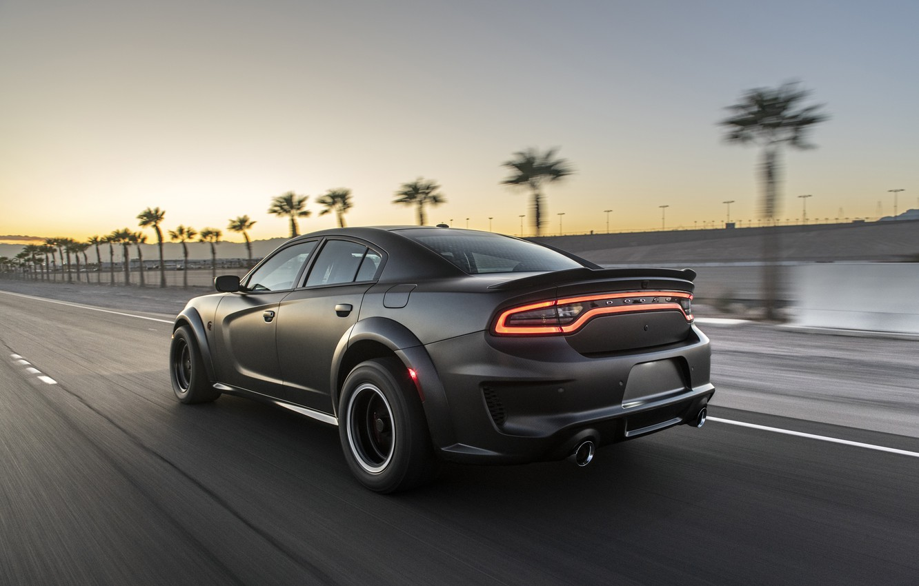 Photo wallpaper sunset, speed, the evening, Dodge, Charger, AWD, 2019, SpeedKore, SEMA 2019, Twin Turbo Carbon