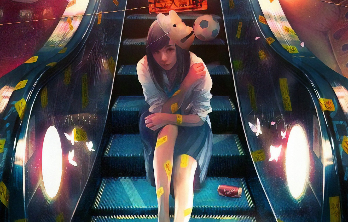 Photo wallpaper metro, mask, characters, handrails, schoolgirl, soccer ball, escalator, print, white blouse, sitting on the stairs