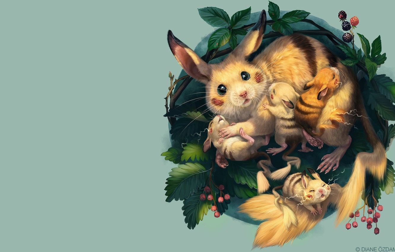 Photo wallpaper art, socket, Pikachu, kids, pokemon, children's, Diane ÖZDAMAR, A nest of Pikachu