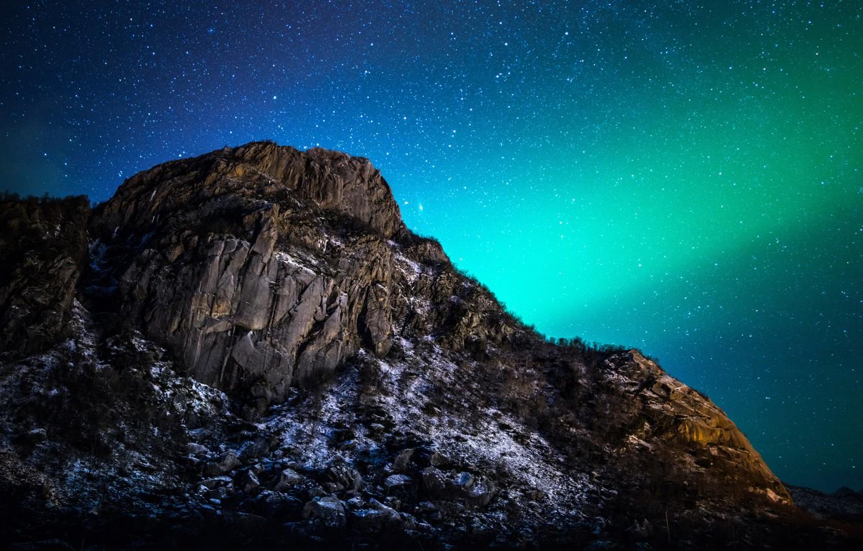 Photo wallpaper landscape, night, nature, mountain, stars, Northern lights