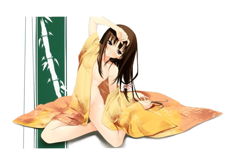 Photo wallpaper bamboo, girl, kimono, sitting on the floor, the hand on the head, by Kantoku