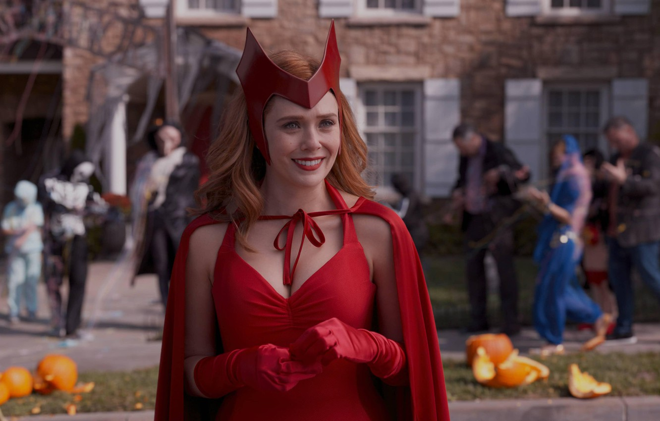 Photo wallpaper Red, Girl, Smile, Girl, Costume, Halloween, Actress, The series, Halloween, Red, Cloak, Smile, Beauty, Marvel, …