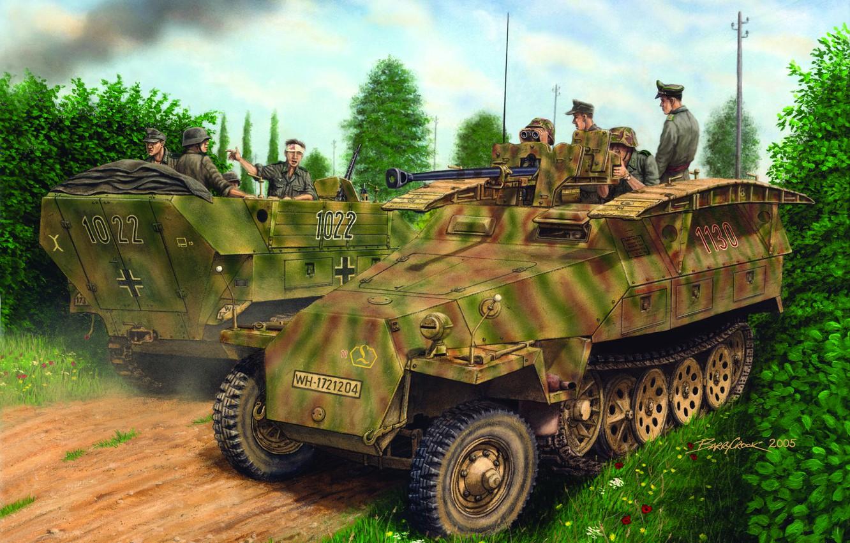 Photo wallpaper APC, The Wehrmacht, Sd. Kfz. 251, Sd.Kfz.251/7 Ausf.D