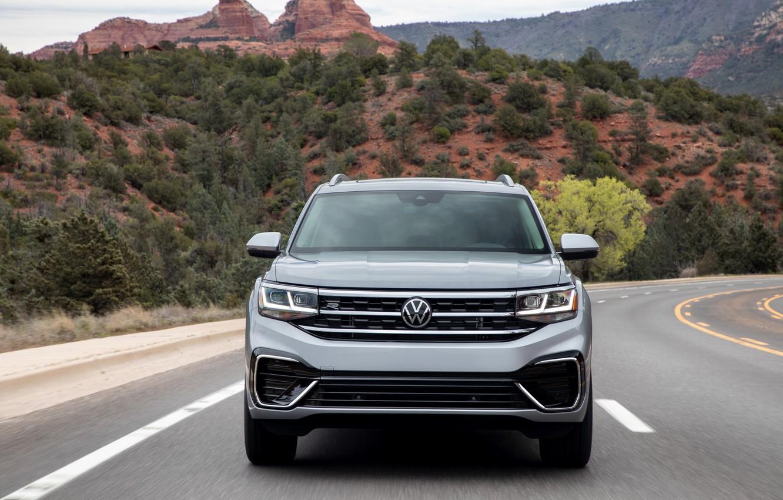 Photo wallpaper Volkswagen, front, SUV, Atlas, 2020, gray-silver