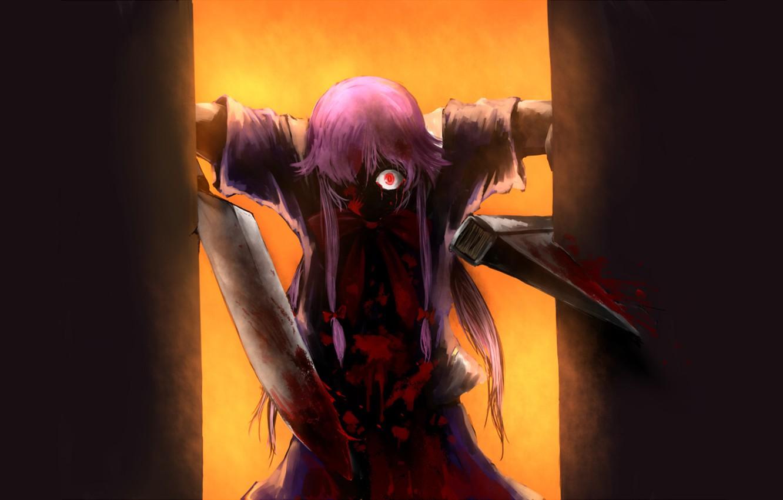 Photo wallpaper monster, knife, horror, madness, Mirai Nikki, Future diary, burning eyes, blood spatter, Yuno Gasai, obsessed, …