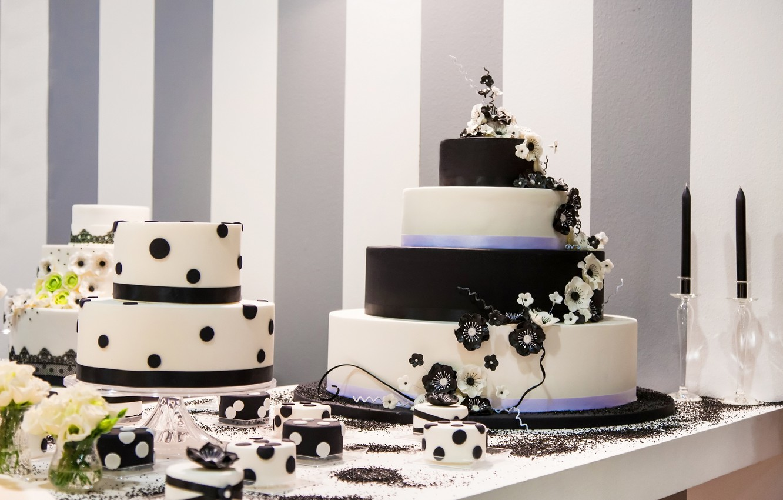 Photo wallpaper flowers, cake, decoration, cake, dessert