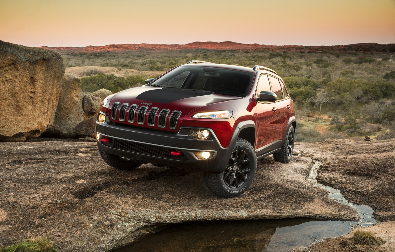 Photo wallpaper Sunset, Red, Mountains, SUV, Jeep, car, Jeep, Cherokee, Jeep Cherokee