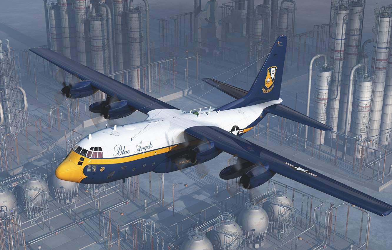 Photo wallpaper the plane, plant, art, Lockheed, military transport, Hercules, Blue Angels, Marines, C-130, USMC