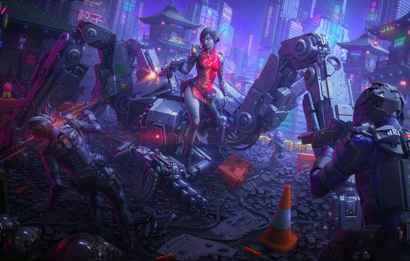 Photo wallpaper girl, night, the city, death, weapons, fiction, China, robot, art, helmet, armor, cyborg, special forces