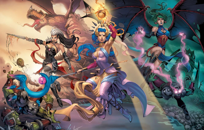 Photo wallpaper girl, magic, dragon, elf, wings, MAG, vampire, battle, Orc, Evelyn, Lana Solaris, Antalya