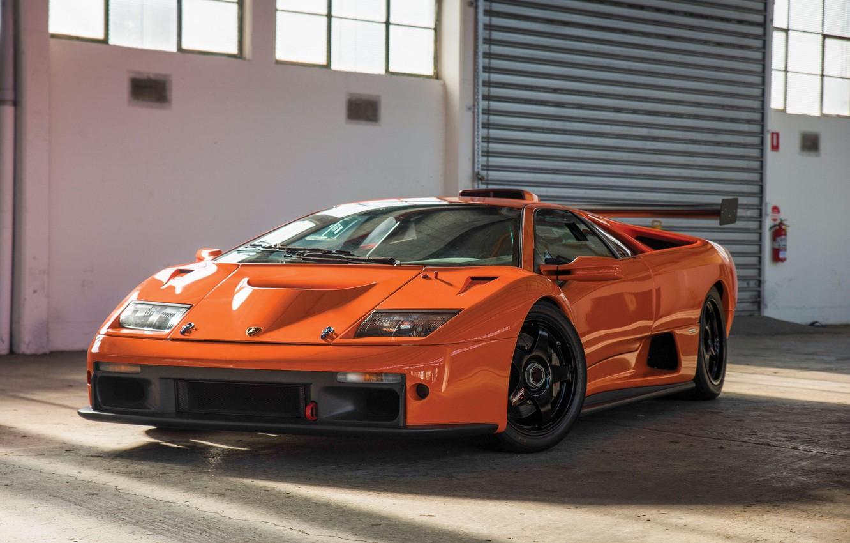 Photo wallpaper Orange, Classic, Supercar, Lamborghini Diablo GTR