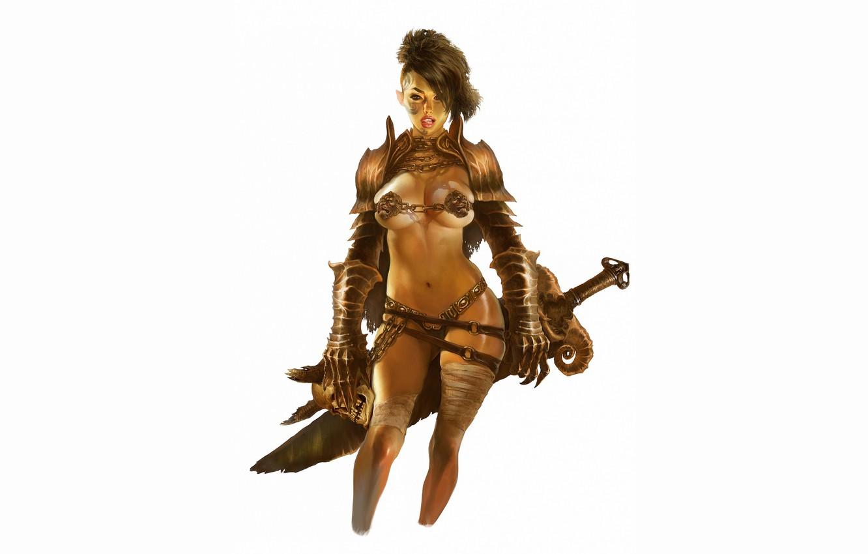 Photo wallpaper girl, sword, white background, warrior, Amazon