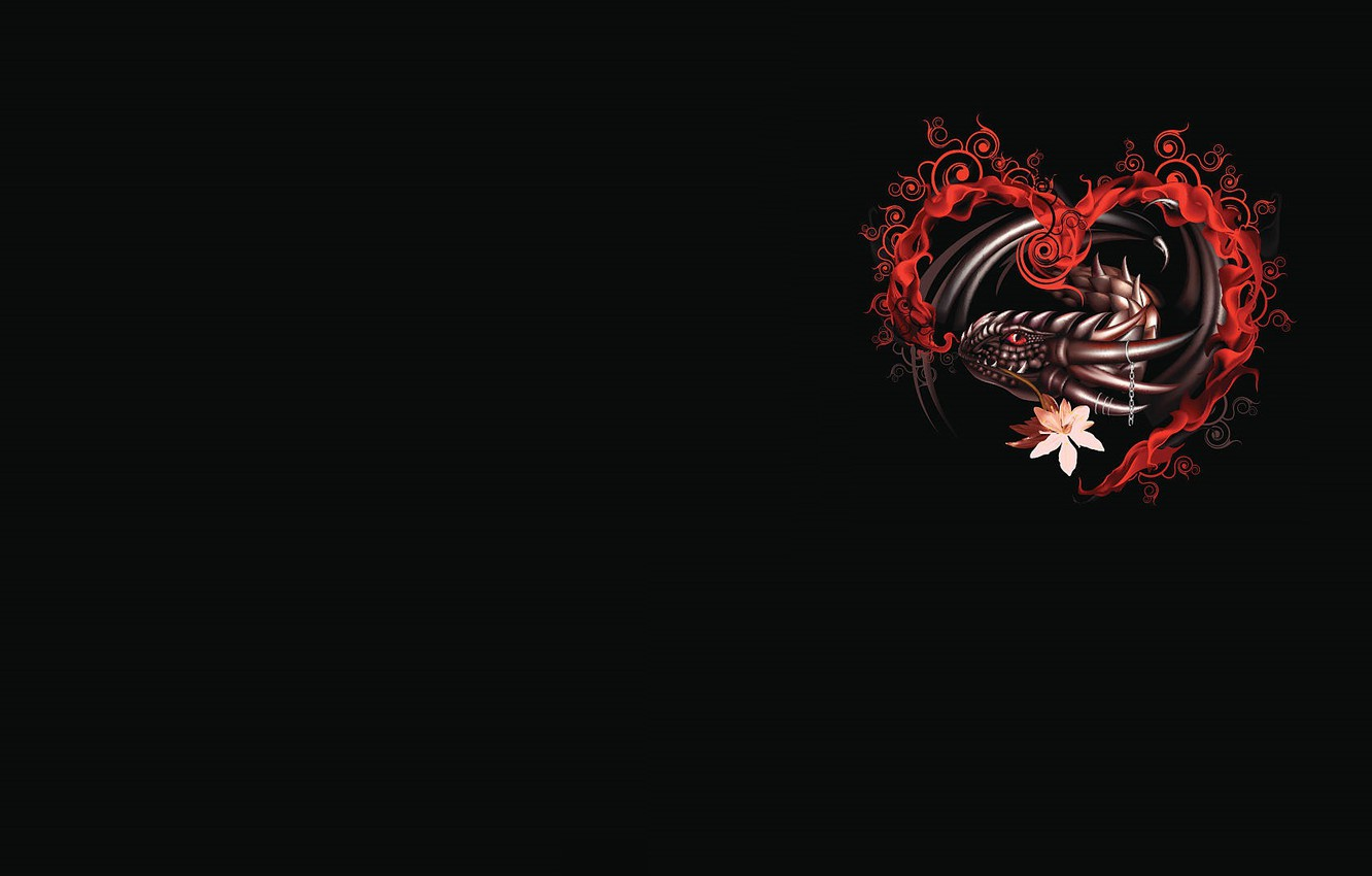 Photo wallpaper dragon, heart, fantasy, art, Valentine, Valentine's Day, prazdnik