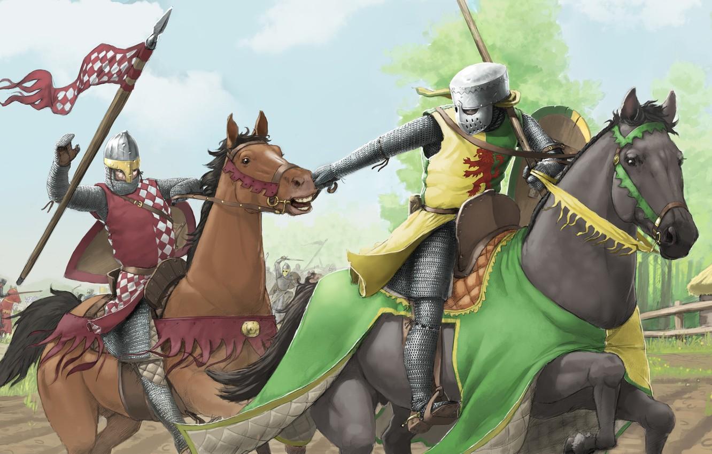 Photo wallpaper Armor, Battle, Horse, Knights, Horses, Battle, Art, Knights, Jacob Jones, by Jacob Jones, Tourney, William …