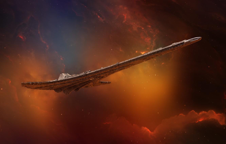 Photo wallpaper Stars, Space, Nebula, Star, Ship, Star, Art, Stars, Space, Art, Spaceship, Fiction, Nebula, Transport, GrahamTG, …
