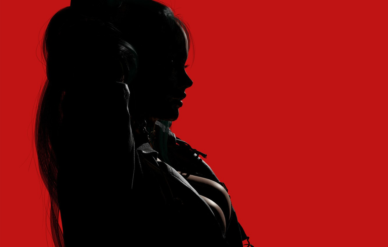 Photo wallpaper girl, rendering, silhouette, profile, red background, 3 D