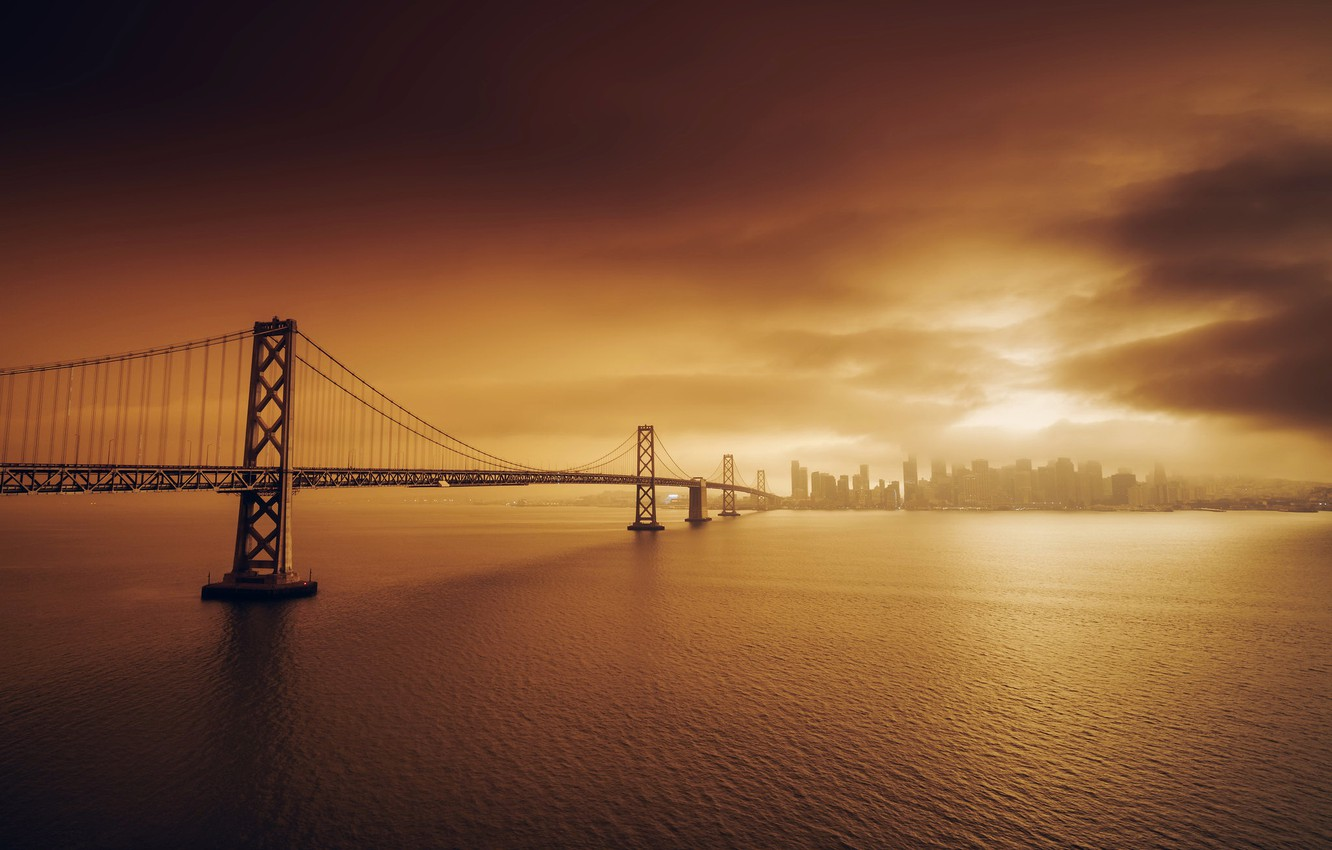 Photo wallpaper sunset, bridge, the city, Golden Gate Bridge, San Francisco
