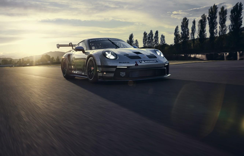 Photo wallpaper dawn, 911, Porsche, track, GT3, Boss, Cup, the glare of the sun