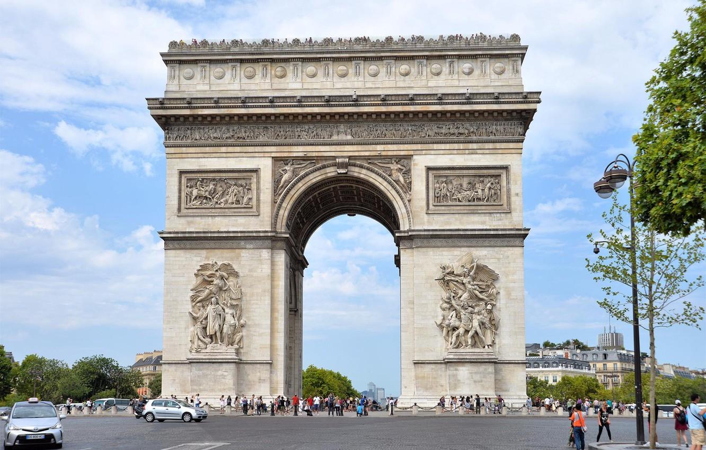 Photo wallpaper Paris, Arch, people.