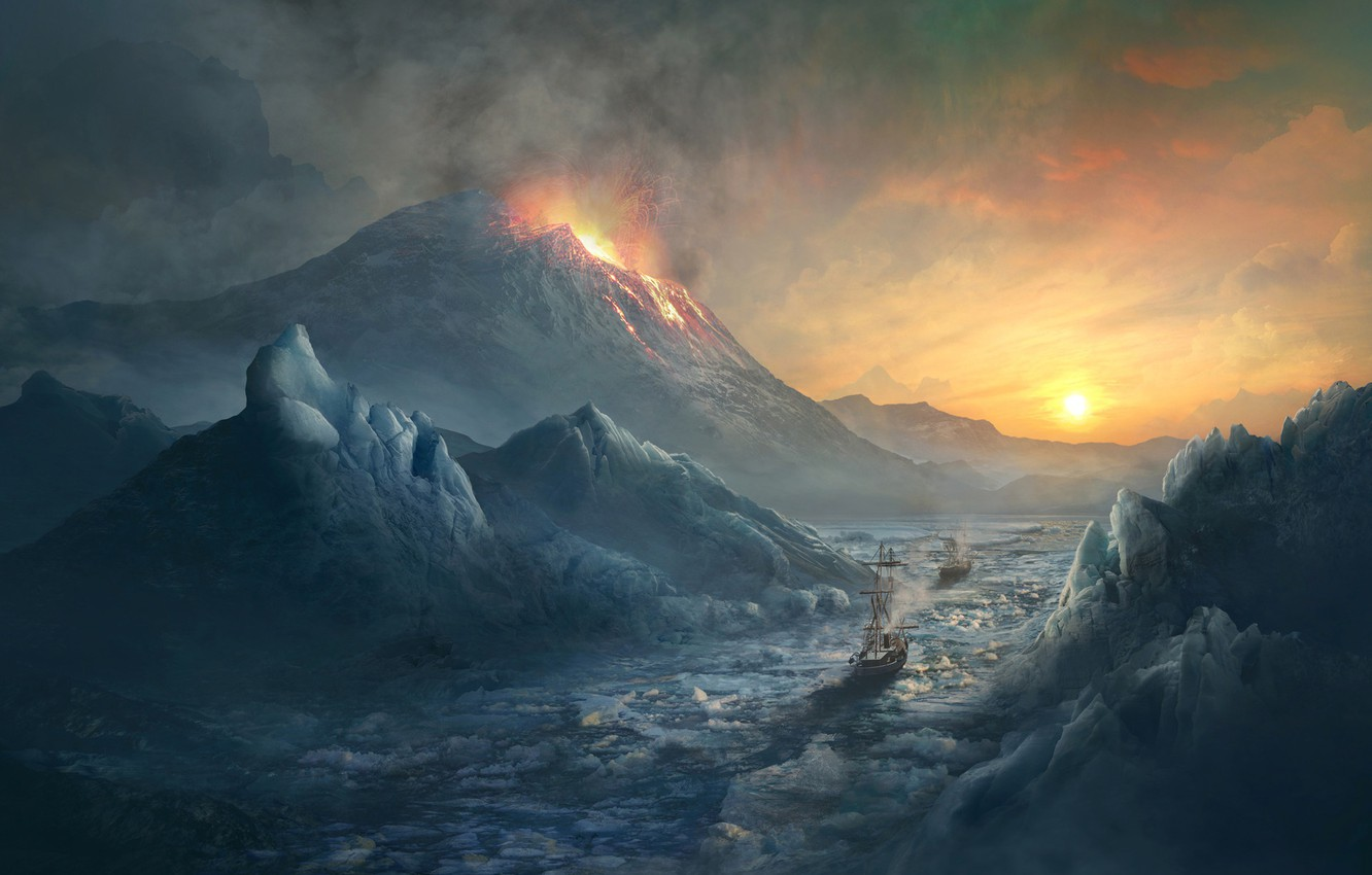 Photo wallpaper Sunset, Winter, Rocks, Smoke, Mountain, Ice, The volcano, The explosion, Ship, The way, Ice, Gorge, ...