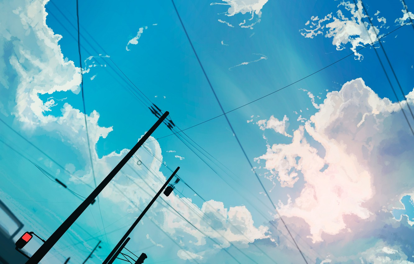 Photo wallpaper the sky, clouds, wire