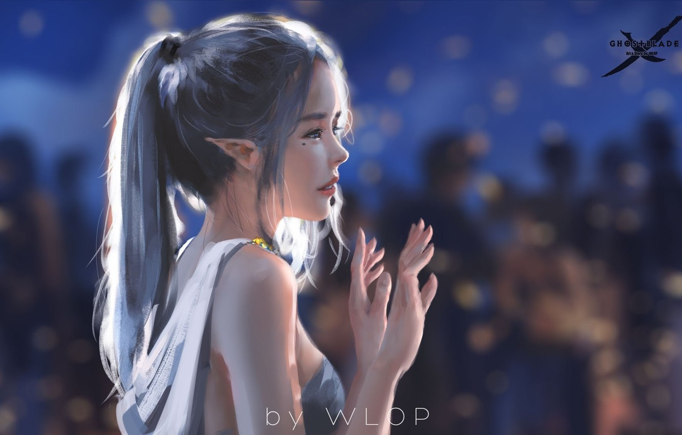 Photo wallpaper girl, fantasy, dress, blue eyes, ponytail, elf, digital art, artwork, fantasy art, fantasy girl, bare ...