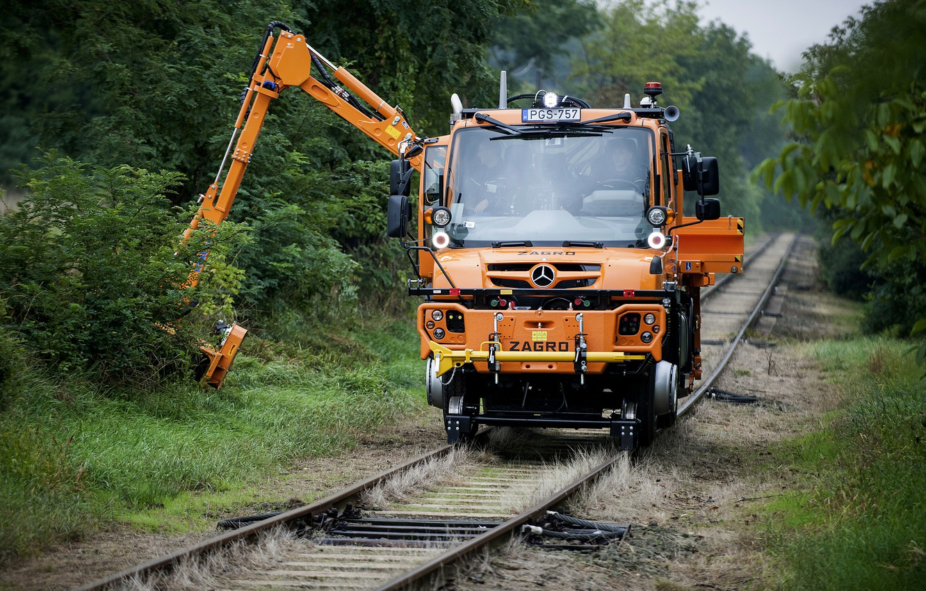 Photo wallpaper orange, vegetation, rails, Mercedes-Benz, manipulator, machinery, Unimog