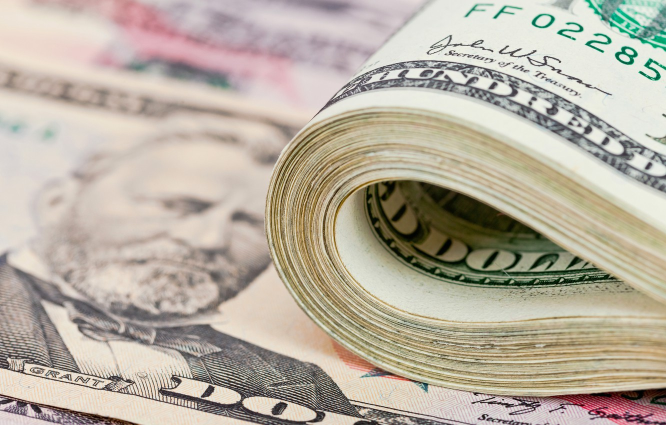 Photo wallpaper dollar, currency, bills, dollar, currency, banknotes