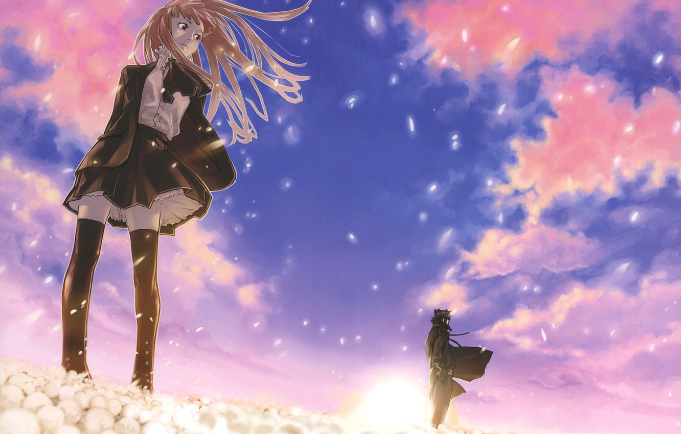 Photo wallpaper the wind, pink clouds, cherry blossoms, the guy with the girl, by Yuusuke Kozaki, Speed …