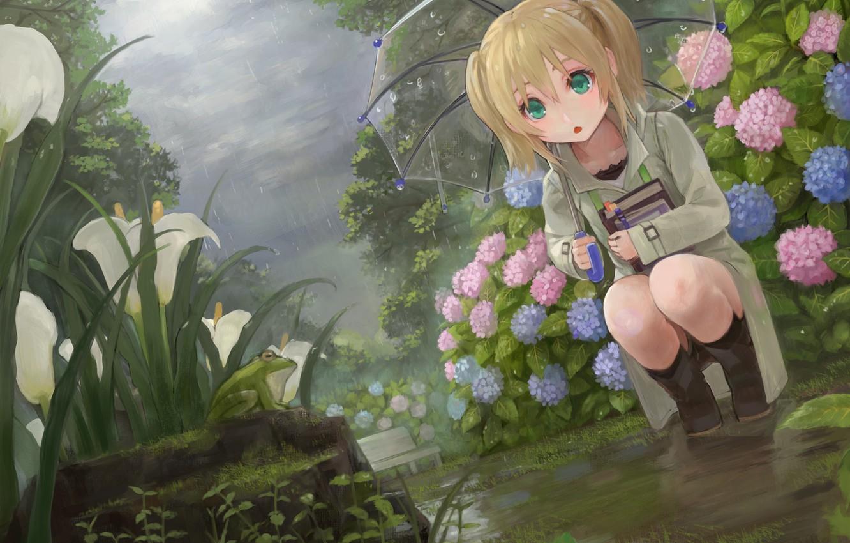 Photo wallpaper flowers, rain, frog, umbrella, garden, girl, flowerbed